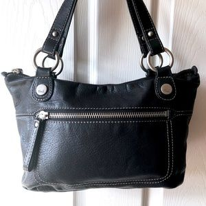 Fossil Small Black Leather Satchel